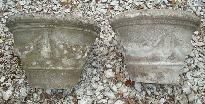 PAIR CAST STONE SWAG DECORATED PLANTER POTS, ANTIQUE