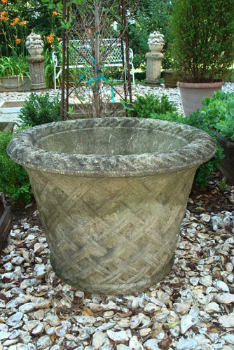 ANTIQUE LARGE LATTICE CAST STONE POT, ENGLISH