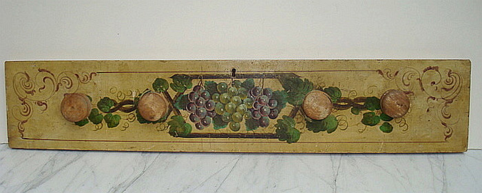 GRAPE VINE PAINTED WOOD PANEL, OIL, 19TH CENTURY, AMERICAN