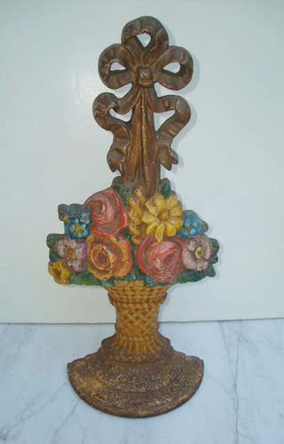 Antique Doorstop | Cast Iron | Large Basket of Flowers