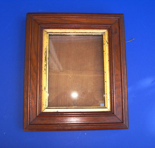 ANTIQUE PICTURE FRAME, WALNUT WITH GILT WOOD LINER,  8 5/8  X  7 1/4 inches
