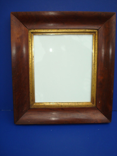 ANTIQUE PICTURE FRAME, MAHOGANY VENEER WITH GILT LINER, GLASS