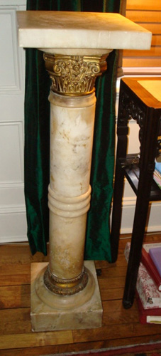 PEDESTAL, ALABASTER IN FORM OF CORINTHIAN COLUMN, 42 IN. H. ANTIQUE