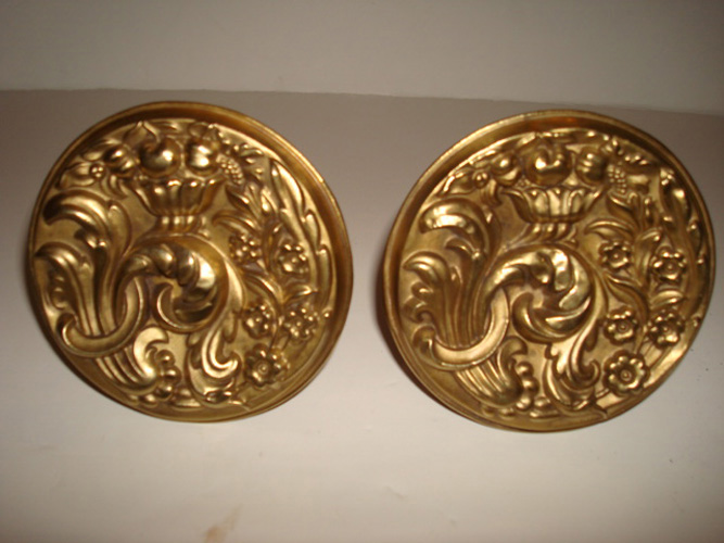 PAIR BRASS CURTAIN PINS, 3 1/2 inch RAISED DESIGN OF FLOWERS & LEAVES, ANTIQUE, 19TH C.