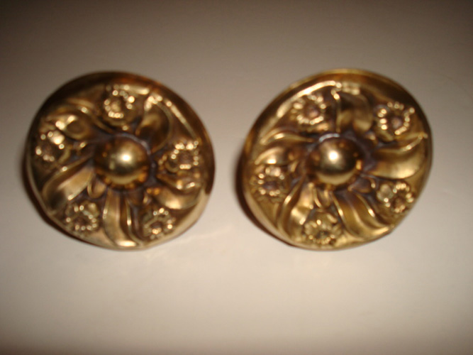 PAIR OF BRASS CLOAK PINS OR SMALL CURTAIN PINS,2 INCH,  ANTIQUE 19TH C.