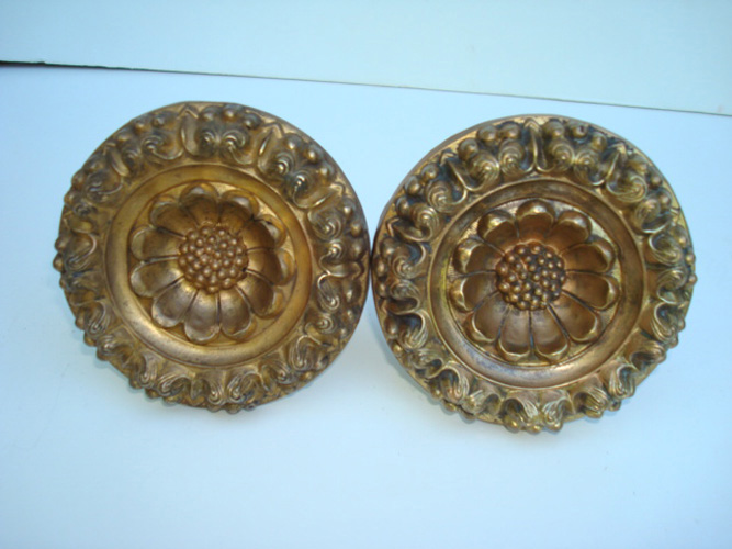 PAIR GILT BRASS CURTAIN PINS OR TIE BACKS, 3 3/4 INCH D.  19TH C.