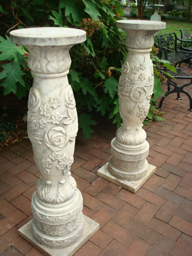 ANTIQUE MARBLE PEDESTALS, FLORAL CARVED, PAIR, 48 IN. H.