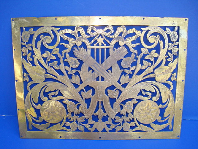 BRASS PANEL FRAGMENT, ANTIQUE, CLASSICAL OPENWORK DESIGN, 19TH C.