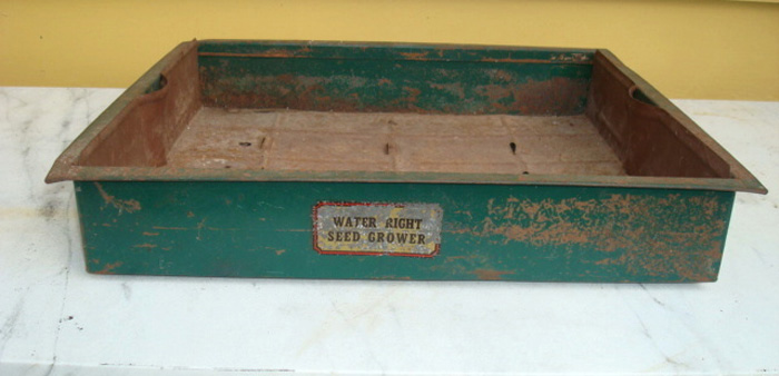SEED GROWER, ANTIQUE, METAL, TWO PART, LABELED