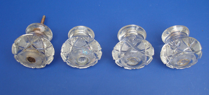 GLASS PULL OR FURNITURE KNOBS, CUT GLASS, SET OF FOUR, C. 1830, AMERICAN