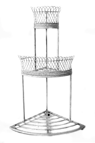 CORNER PLANT STAND, ANTIQUE FRENCH,  WIREWORK  & WROUGHT IRON, LATE 19TH C.