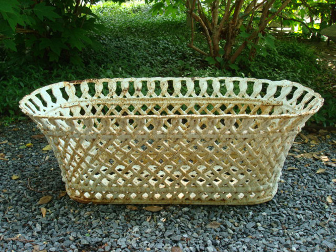 OVAL BASKET PLANTER, ANTIQUE WOVEN CAST IRON 33  INCHES WIDE