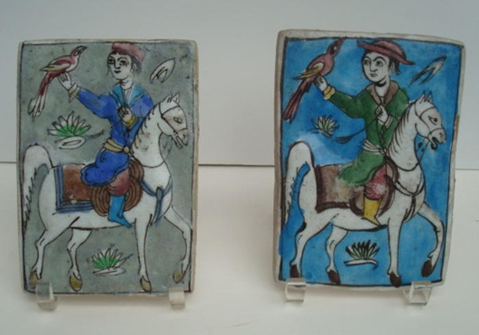 PERSIAN GLAZED TILES, ANTIQUE