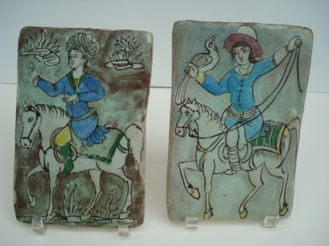 PERSIAN GLAZED TILES, ANTIQUE, TWO