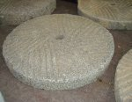 ANTIQUE MILLSTONES, 18-21 INCHES DIAMETER, CARVED STONE