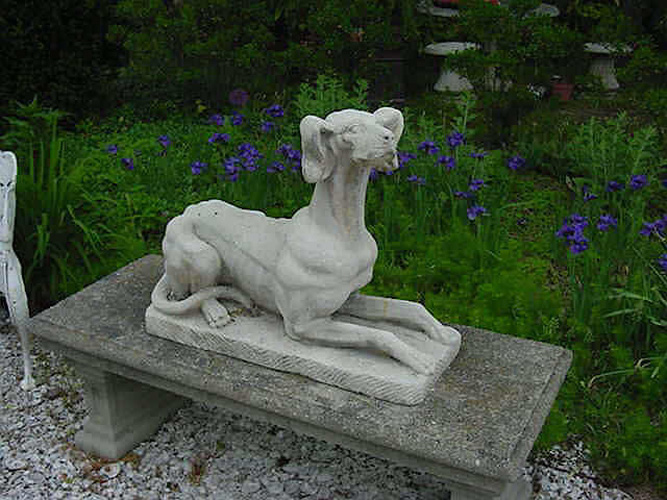 Dogs, pair carved limestone whippets,  antique