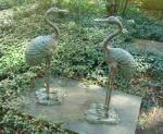 HERONS, PAIR CAST IRON, VINTAGE