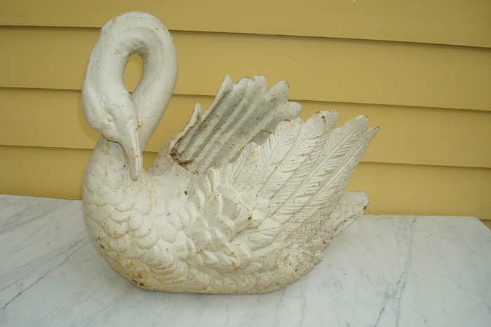 SWAN CAST IRON PLANTER, ANTIQUE, EARLY 20TH C.