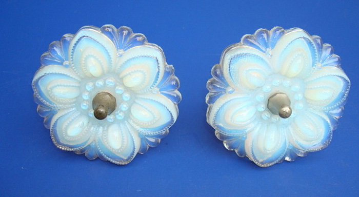 ANTIQUE OPALESCENT CURTAIN PINS,  PAIR, 3 INCH D. 19TH C.