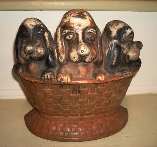 Antique Doorstop | Puppies in a Basket