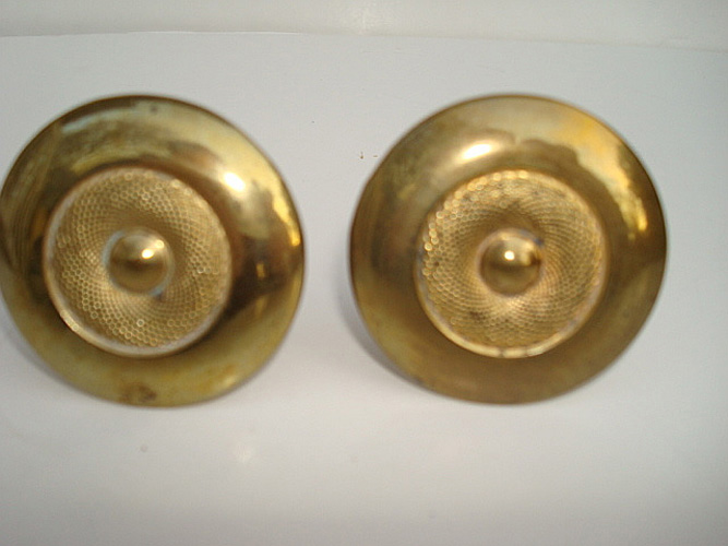 CURTAIN PINS. PAIR SMALL ROUND GILT BRASS, ANTIQUE 19TH C.