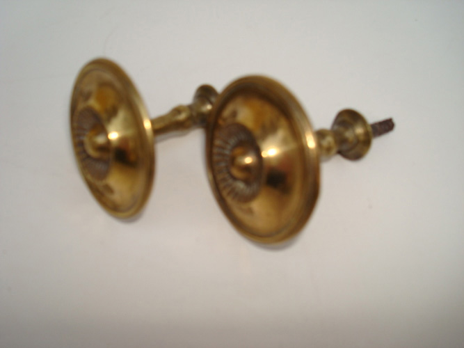 PAIR CURTAIN  PINS, ROUND  BRASS, 1 1/2 IN. D. ANTIQUE