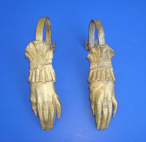 HAND TIE BACKS, ANTIQUE PRESSED BRASS, 7