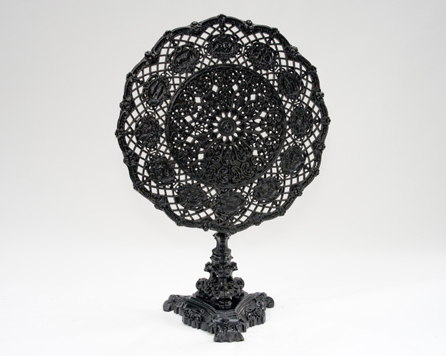 ZODIAC TABLE, CAST IRON TILT TOP, 19TH CENTURY