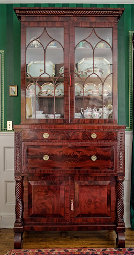 SECRETARY BOOKCASE,  ANTIQUE PHILADELPHIA,  C. 1830, ATTRIBUTED TO ANTHONY QUERVELLE