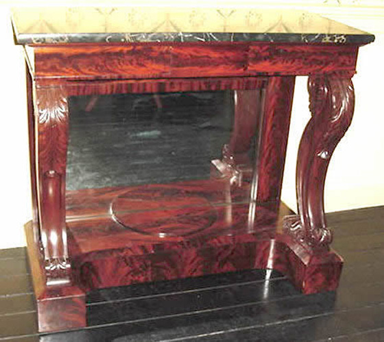 Antique Classical Carved Mahogany Boston Pier Table, Original Egyptian Marble, c.1825