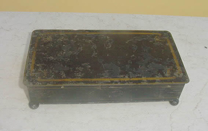 Antique Metal  Gilt Decorated Writing Box Dated 1845, English