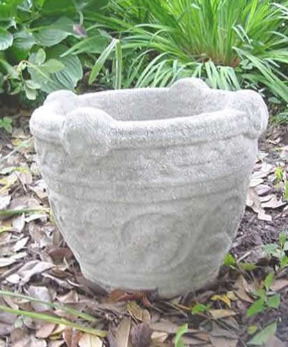 GARDEN PLANTER, ANTIQUE CAST STONE WITH AGGREGATE, SINGLE