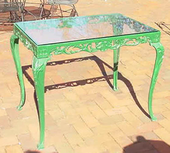 Green Cast Iron Rectangular Garden Table with Glass Top