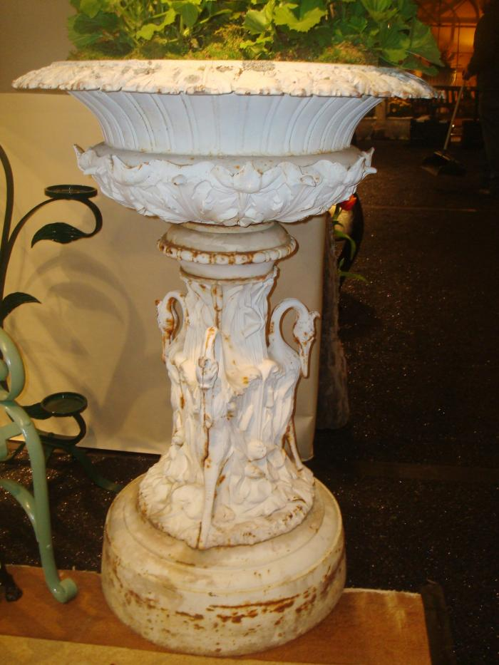 Large Cast Iron Garden Urn Or Vase Dated 1874 Under Rim, And Illustrated In  The 1875 Foundry Catalog Of J.L. Mott Iron Works, 90 Beekman Cor.