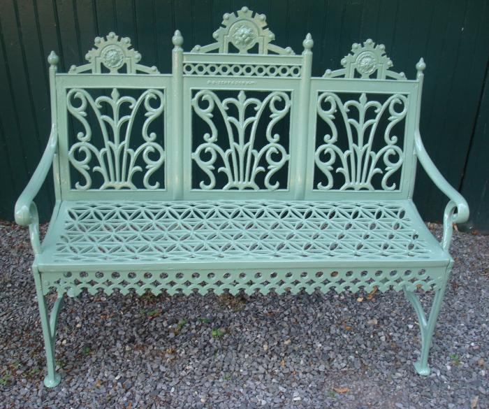 CURTAIN PATTERN CAST IRON BENCH OR SETTEE, SAMUEL S. BENT & SON, N.Y.