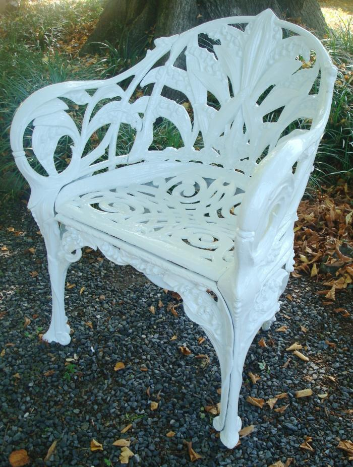 LILY OF THE VALLEY CHAIR, CAST IRON, ANTIQUE