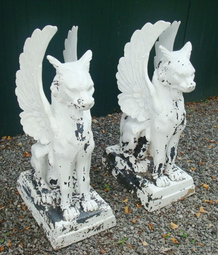GRIFFINS, PAIR ZINC, ANTIQUE