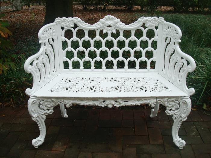 GOTHIC BENCH, CAST IRON, LABELED KRAMER BROS. FDY DAYTON, O