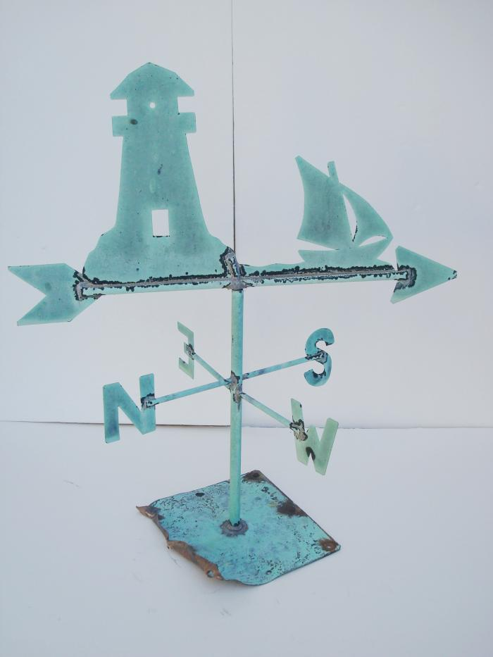 WEATHERVANE, LIGHTHOUSE AND SAILING SHIP