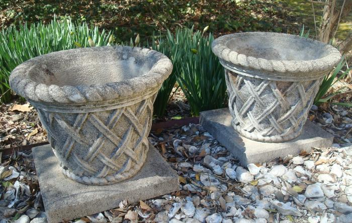 POTS,  PAIR SQUARE BASKET WEAVE, CAST STONE, VINTAGE