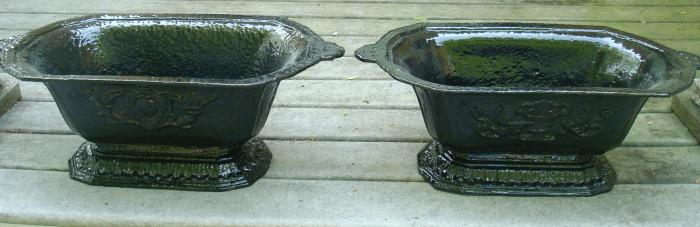 FRENCH POTS, PAIR CAST IRON, LOW FLARED DESIGN