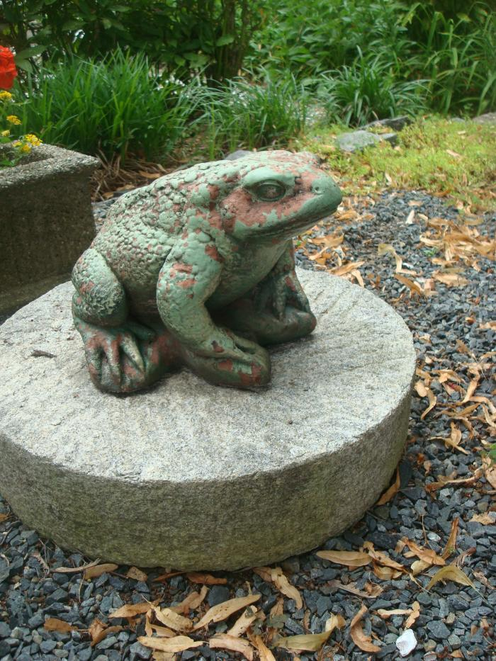 FROG STATUE, VINTAGE CAST STONE PAINTED GREEN