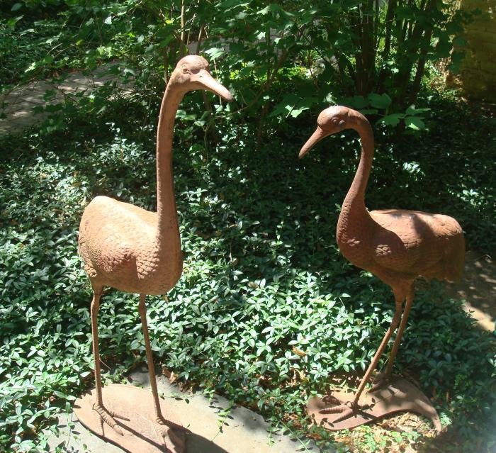 HERONS, PAIR CAST IRON, ANTIQUE