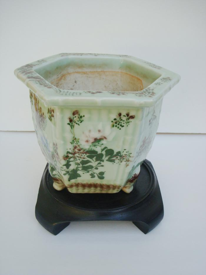 ASIAN CACHE POT, GREEN PORCELAIN, ANTIQUE