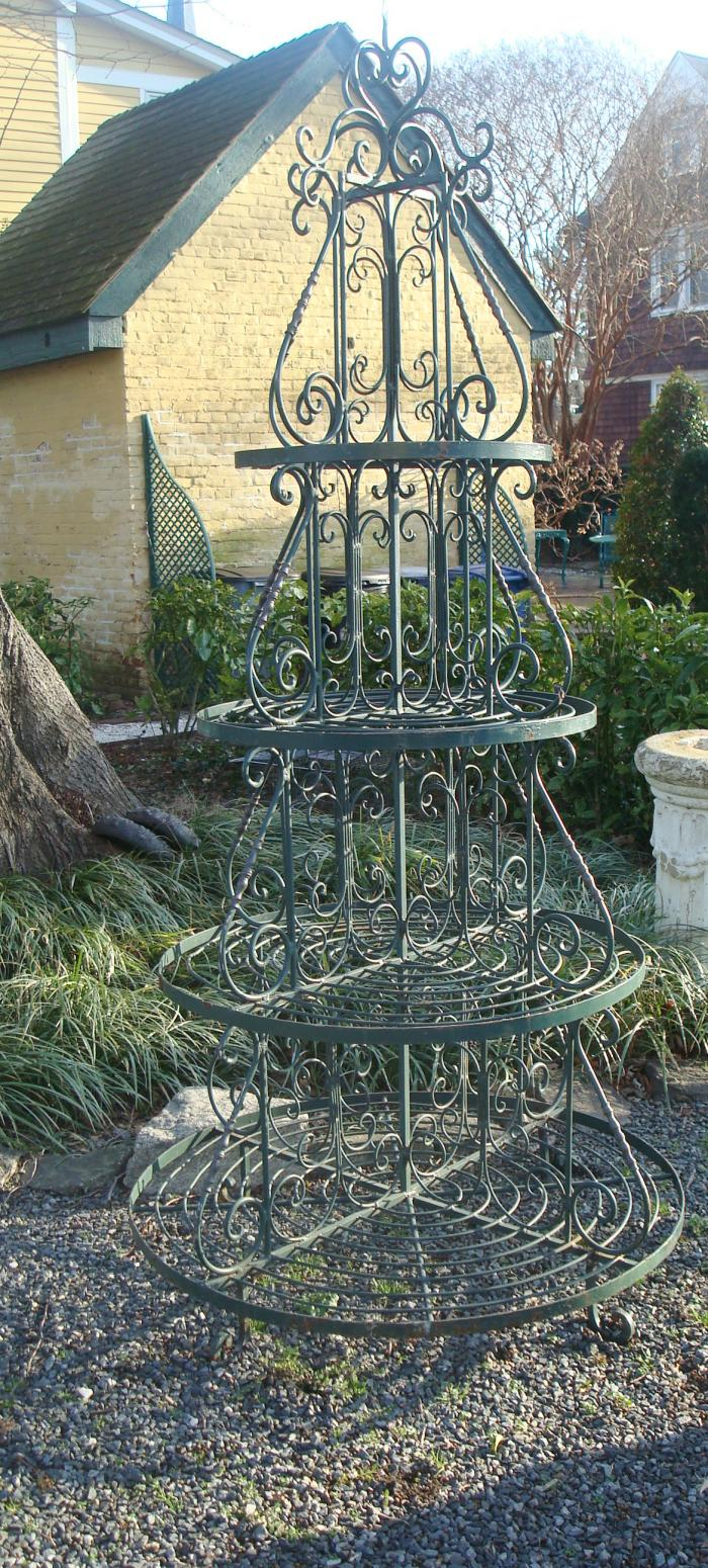 LARGE PLANT STAND, WROUGHT IRON, VINTAGE