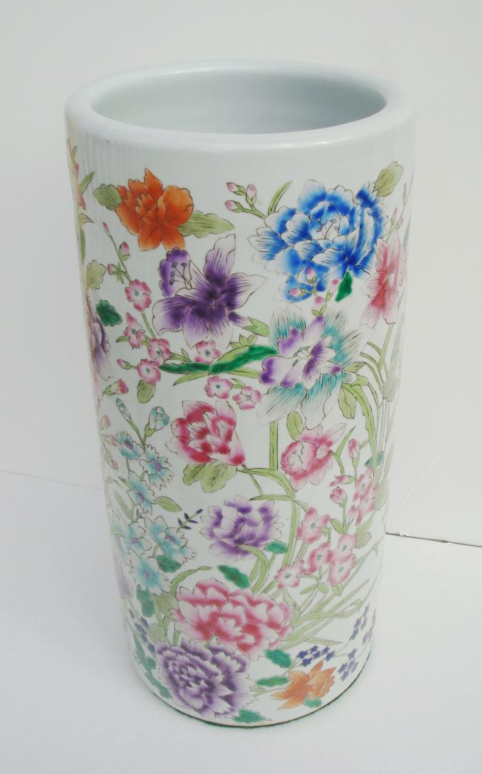 UMBRELLA STAND, CERAMIC WITH FLORAL DECORATION