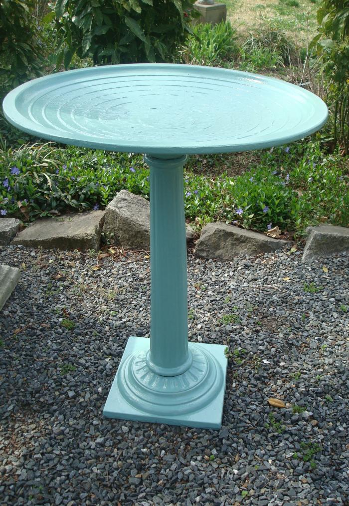 BIRD BATH, CAST IRON, LABELED ORNECO