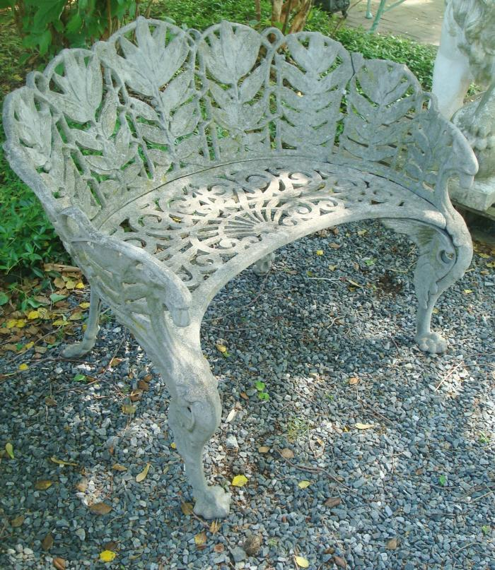 BENCH, LAUREL PATTERN, CAST ZINC, LABELED WALKER FDY. CHARLOTTESVILLE, VA.