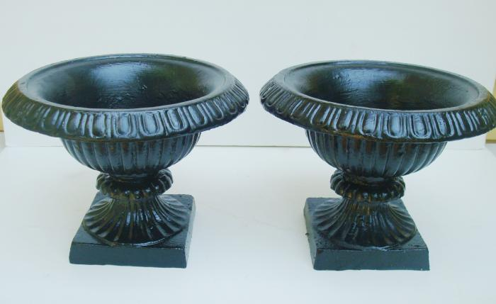 PAIR SMALL CAST IRON URNS, ANTIQUE, BLACK