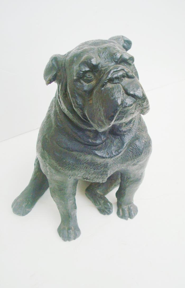 BULLDOG STATUE, CAST IRON